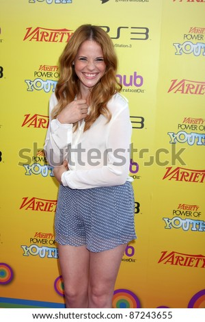LOS ANGELES - OCT 22:  Katie Leclerc arriving at the 2011 Variety Power of Youth Event at the Paramount Studios on October 22, 2011 in Los Angeles, CA - stock photo