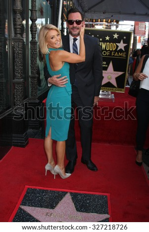 LOS ANGELES - OCT 12:  Kelly Ripa, Lawrence Zarian at the Kelly Ripa Hollywood Walk of Fame Ceremony at the Hollywood Walk of Fame on October 12, 2015 in Los Angeles, CA - stock photo