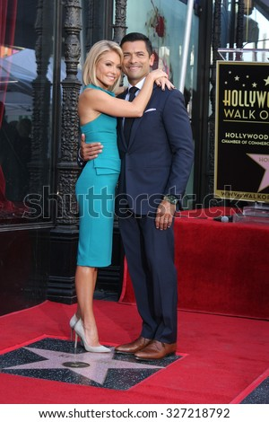 LOS ANGELES - OCT 12:  Kelly Ripa, Mark Consuelos at the Kelly Ripa Hollywood Walk of Fame Ceremony at the Hollywood Walk of Fame on October 12, 2015 in Los Angeles, CA - stock photo