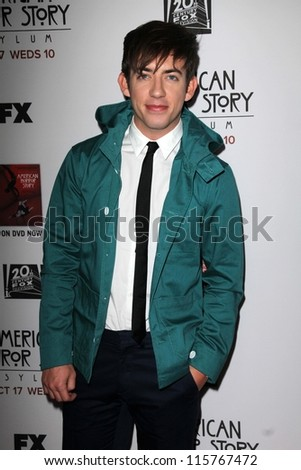 """LOS ANGELES - OCT 13:  Kevin McHale arrives at the """"American Horror Story: Asylum"""" Premiere Screening at Paramount Theater on October 13, 2012 in Los Angeles, CA - stock photo"""