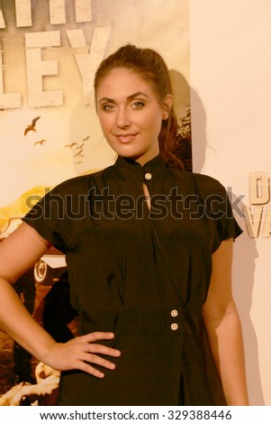 """LOS ANGELES- OCT 17: Kristin Naomi Garcia arrives at the """"Death Valley"""" film premiere Oct. 17, 2015 at Raleigh Studios in Los Angeles, CA. - stock photo"""