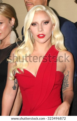 "LOS ANGELES - OCT 3:  Lady Gaga at the ""American Horror Story: Hotel"" Premiere Screening at the Regal 14 Theaters on October 3, 2015 in Los Angeles, CA - stock photo"