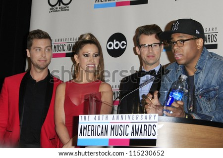 LOS ANGELES - OCT 9: Lance Bass, Brad Goreski, Kimberly Cole, Tristan Wilds at the 40th Anniversary American Music Awards nominations press conference on October 9, 2012 in Los Angeles, California - stock photo