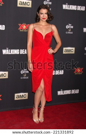 "LOS ANGELES - OCT 2:  Lauren Cohan at the ""The Walking Dead"" Season 5 Premiere at Universal City Walk on October 2, 2014 in Los Angeles, CA - stock photo"