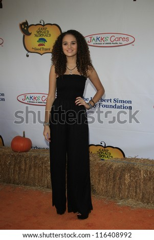 LOS ANGELES - OCT 21: Madison Pettis at the Camp Ronald McDonald for Good Times 20th Annual Halloween Carnival at the Universal Studios Backlot on October 21, 2012 in Los Angeles, California - stock photo