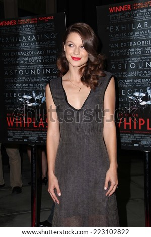 """LOS ANGELES - OCT 6:  Melissa Benoist at the """"Whiplash"""" Premiere at Bing Theatre At LACMA on October 6, 2014 in Los Angeles, CA - stock photo"""