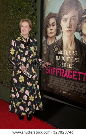 "LOS ANGELES - OCT 20:  Meryl Streep at the ""Suffragette"" LA Premiere at the Samuel Goldwyn Theater on October 20, 2015 in Beverly Hills, CA - stock photo"