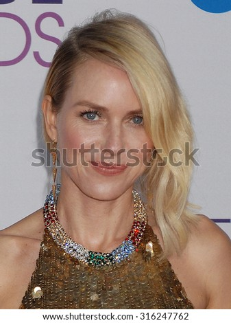 LOS ANGELES - OCT 4:  Naomi Watts arrives at the 2013 Peoples Choice Awards  on January 9, 2013 in Los Angeles, CA              - stock photo
