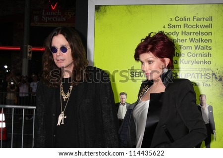 "LOS ANGELES - OCT 30:  Ozzy Osbourne, Sharon Osbourne  at the ""Seven Psychopaths"" Premiere at Bruin Theater on October 30, 2012 in Westwood, CA - stock photo"