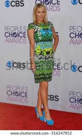 LOS ANGELES - OCT 4:  Paris Hilton arrives at the 2013 Peoples Choice Awards  on January 9, 2013 in Los Angeles, CA