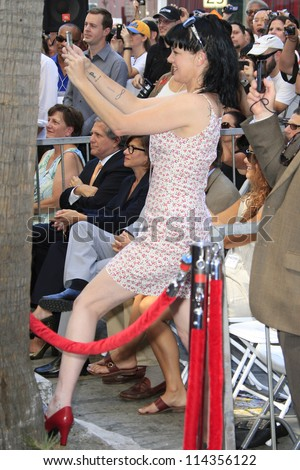 LOS ANGELES - OCT 1: Pauley Perrette at a ceremony as Mark Harmon is honored with a star on the Hollywood Walk of Fame on October 1, 2012 in Los Angeles, California - stock photo