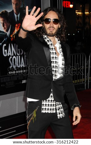 LOS ANGELES - OCT 4:  Russell Brand arrives at the Gangster Squad World Premiere  on January 7, 2013 in Hollywood, CA              - stock photo