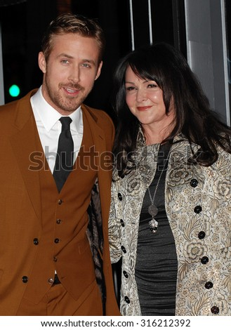 LOS ANGELES - OCT 4:  Ryan Gosling and mother Donna arrives at the Gangster Squad World Premiere  on January 7, 2013 in Hollywood, CA              - stock photo