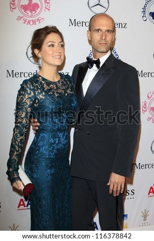 LOS ANGELES - OCT 20:  Sasha Alexander, Edoardo Ponti arrives at  the 26th Carousel Of Hope Ball at Beverly Hilton Hotel on October 20, 2012 in Beverly Hills, CA - stock photo