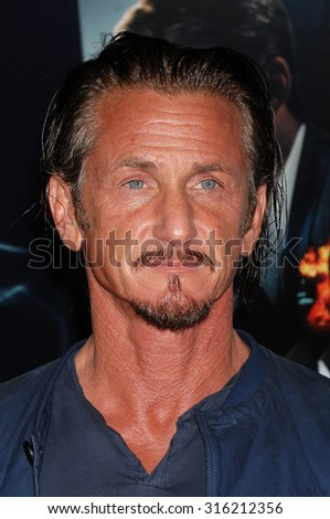 LOS ANGELES - OCT 4:  Sean Penn arrives at the Gangster Squad World Premiere  on January 7, 2013 in Hollywood, CA              - stock photo