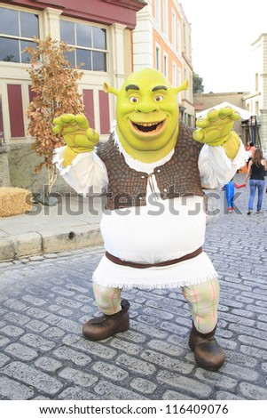 LOS ANGELES - OCT 21: Shrek at the Camp Ronald McDonald for Good Times 20th Annual Halloween Carnival at the Universal Studios Backlot on October 21, 2012 in Los Angeles, California - stock photo