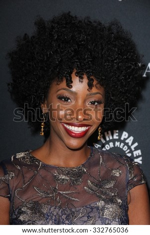 LOS ANGELES - OCT 26:  Teyonah Parris at the Paley Center's Hollywood Tribute to African-Americans in TV at the Beverly Wilshire Hotel on October 26, 2015 in Beverly Hills, CA - stock photo