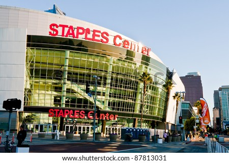 LOS ANGELES - OCT 30, 2011: The Staples Center at LA Live in the early morning before the Rock 'n Roll Marathon in Los Angeles on October 30, 2011. - stock photo