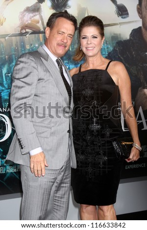 """LOS ANGELES - OCT 24:  Tom Hanks, Rita Wilson arrives at the """"Cloud Atlas""""  Los Angeles Premiere  at Grauman's Chinese Theater on October 24, 2012 in Los Angeles, CA - stock photo"""
