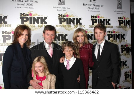 "LOS ANGELES - OCT 11:  Wayne Gretzky and family arrives at the ""Mr. Pink"" Energy Drink Launch at Beverly Wilshire Hotel on October 11, 2012 in Beverly Hills, CA - stock photo"