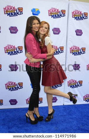"""LOS ANGELES - OCT 6:  Zendaya Coleman, Bella Thorne arrives at the  """"Make Your Mark: Shake It Up Dance Off 2012"""" at LA Center Studios on October 6, 2012 in Los Angeles, CA - stock photo"""
