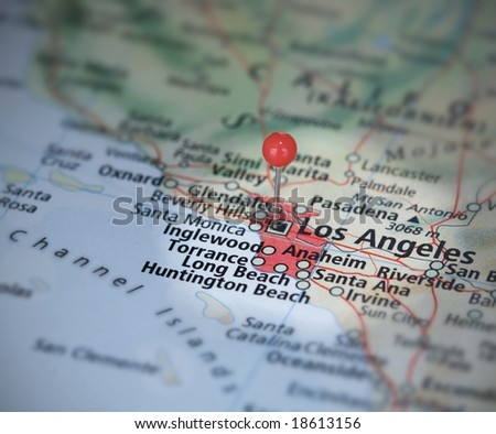 Los Angeles on the map with a pin - stock photo