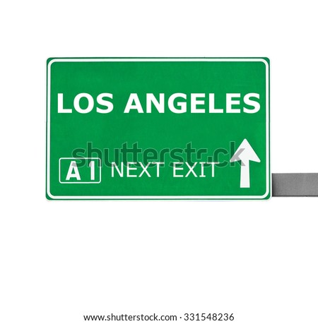 LOS ANGELES road sign isolated on white