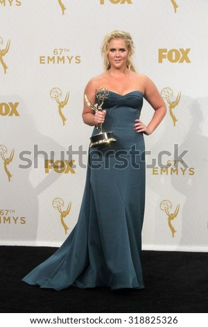 LOS ANGELES - SEP 20:  Amy Schumer at the Primetime Emmy Awards Press Room at the Microsoft Theater on September 20, 2015 in Los Angeles, CA - stock photo