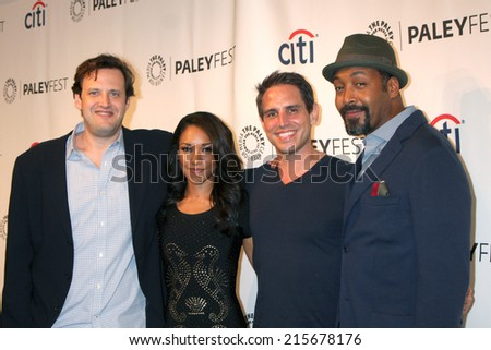 LOS ANGELES - SEP 6:  Andrew Kreisberg, Candice Patton, Greg Berlanti, Jesse L. Martin at the PaleyFest 2014 Fall TV Previews - The CW  at Paley Center on September 6, 2014 in Beverly Hills, CA - stock photo