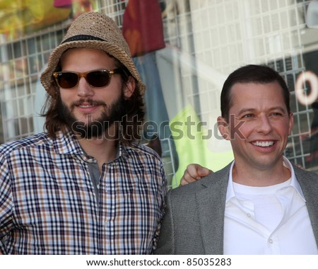 LOS ANGELES - SEP 19:  Ashton Kutcher, Jon Cryer at the Jon Cryer Hollywood Walk of Fame Star Ceremony at Hollywood Walk of Fame on September 19, 2011 in Los Angeles, CA - stock photo