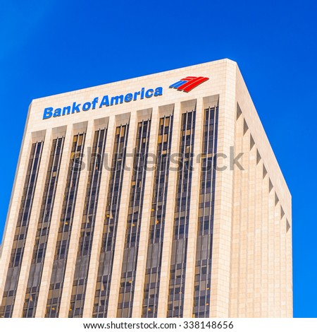 LOS ANGELES - SEP 28, 2015: Bank of America tower, Downtown of Los Angeles, California. Downtown Los Angeles is the central business district of Los Angeles, California