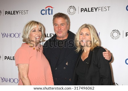 "LOS ANGELES - SEP 16:  Carol Mendelsohn, William Petersen, Ann Donahue at the Fall TV Preview - ""CSI"" Farewell Salute at the Paley Center on September 16, 2015 in Beverly Hills, CA - stock photo"