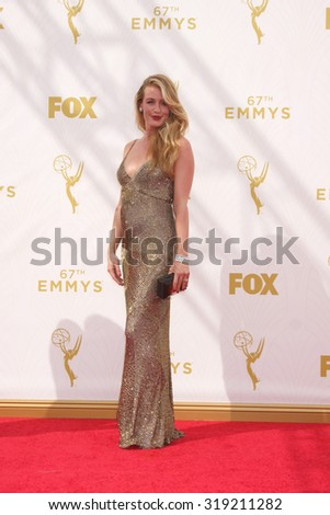 LOS ANGELES - SEP 20:  Cat Deeley at the Primetime Emmy Awards Arrivals at the Microsoft Theater on September 20, 2015 in Los Angeles, CA - stock photo