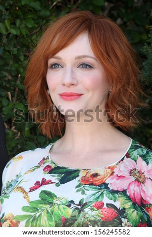 LOS ANGELES - SEP 29:  Christina Hendricks at the Rape Foundation Annual Brunch at Green Acres Estate on September 29, 2013 in Beverly Hills, CA - stock photo