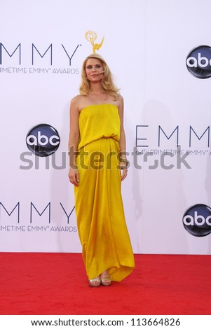 LOS ANGELES - SEP 23:  Claire Danes arrives at the 2012 Emmy Awards at Nokia Theater on September 23, 2012 in Los Angeles, CA - stock photo