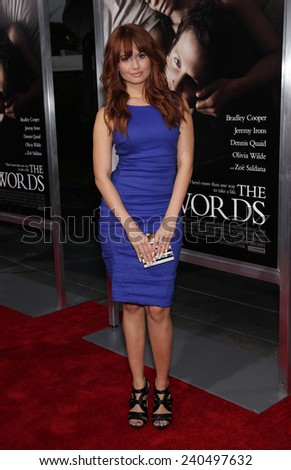 "LOS ANGELES - SEP 12:  Debby Ryan arrives to the ""The Words"" Premiere  on September 12, 2012 in Hollywood, CA                 - stock photo"