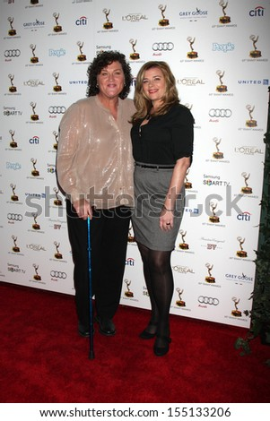 LOS ANGELES - SEP 20:  Dot Marie Jones, Bridgett Casteen at the Emmys Performers Nominee Reception at  Pacific Design Center on September 20, 2013 in West Hollywood, CA - stock photo