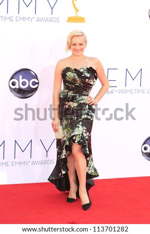 LOS ANGELES - SEP 23: Elisabeth Moss at the 64th Primetime Emmy Awards held at Nokia Theater L.A. Live on September 23, 2012 in Los Angeles, California - stock photo
