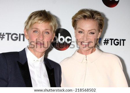 LOS ANGELES - SEP 20:  Ellen DeGeneres, Portia deRossi at the TGIT Premiere Event for Grey's Anatomy, Scandal, How to Get Away With Murder at Palihouse on September 20, 2014 in West Hollywood, CA - stock photo