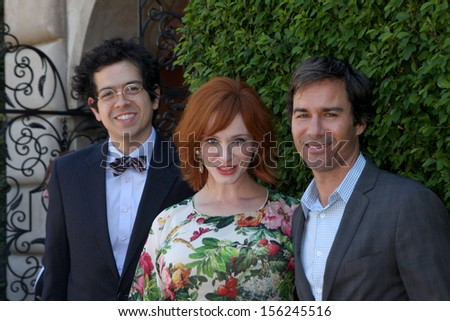 LOS ANGELES - SEP 29:  Geoffrey Arend, Christina Hendricks, Eric McCormack at the Rape Foundation Annual Brunch at Green Acres Estate on September 29, 2013 in Beverly Hills, CA - stock photo