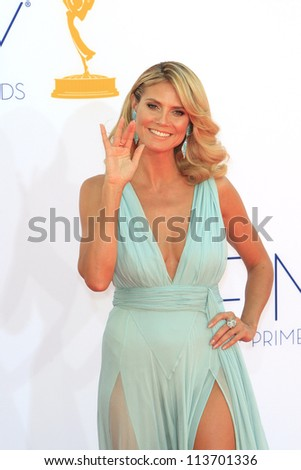LOS ANGELES - SEP 23: Heidi Klum at the 64th Primetime Emmy Awards held at Nokia Theater L.A. Live on September 23, 2012 in Los Angeles, California - stock photo