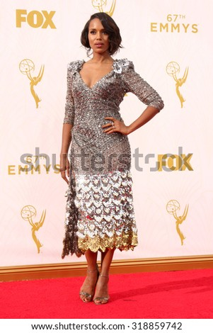 LOS ANGELES - SEP 20:  Kerry Washington at the Primetime Emmy Awards Arrivals at the Microsoft Theater on September 20, 2015 in Los Angeles, CA - stock photo