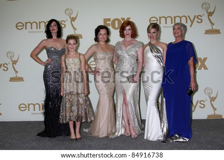LOS ANGELES - SEP 18:  Mad Men Cast in the Press Room at the 63rd Primetime Emmy Awards at Nokia Theater on September 18, 2011 in Los Angeles, CA - stock photo