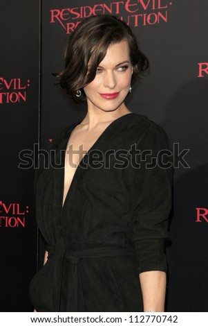 "LOS ANGELES - SEP 12:  Milla Jovovich arrives at the ""Resident Evil: Retribution"" Premiere at Regal Cinemas L.A. Live on September 12, 2012 in Los Angeles, CA"
