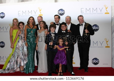 LOS ANGELES - SEP 23:  Modern Family Cast in the press room of the 2012 Emmy Awards at Nokia Theater on September 23, 2012 in Los Angeles, CA - stock photo