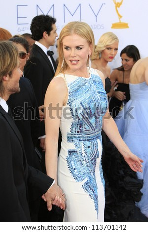 LOS ANGELES - SEP 23: Nicole Kidman at the 64th Primetime Emmy Awards held at Nokia Theater L.A. Live on September 23, 2012 in Los Angeles, California - stock photo