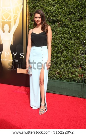 LOS ANGELES - SEP 12:  Nina Dobrev at the Primetime Creative Emmy Awards Arrivals at the Microsoft Theater on September 12, 2015 in Los Angeles, CA - stock photo
