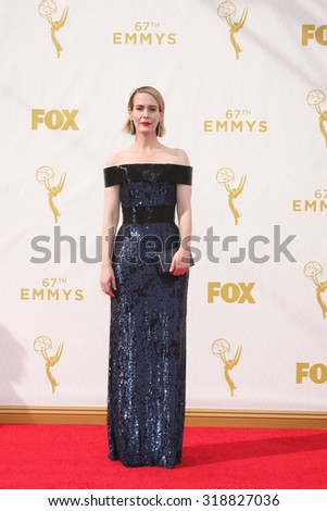 LOS ANGELES - SEP 20:  Sarah Paulson at the Primetime Emmy Awards Arrivals at the Microsoft Theater on September 20, 2015 in Los Angeles, CA - stock photo