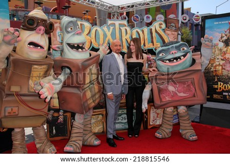 "LOS ANGELES - SEP 21:  Sir Ben Kingsley, Elle Fanning at the ""The Boxtrolls"" Los Angeles Premiere at Universal City Walk on September 21, 2014 in Los Angeles, CA"
