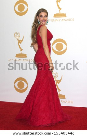 LOS ANGELES - SEP 22:  Sofia Vergara at the 65th Emmy Awards - Press Room at Nokia Theater on September 22, 2013 in Los Angeles, CA - stock photo